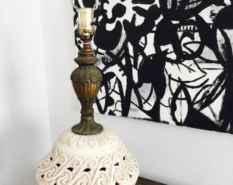 Vintage Anthropologie like cream filigree lamp