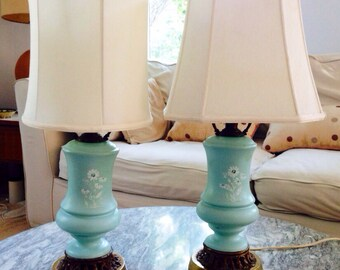 Pair Vintage Robin's Egg Blue Lamps Painted Floral Design