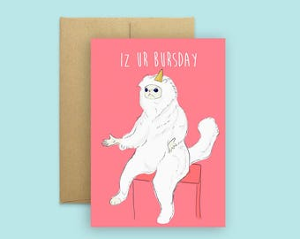 Persian cat meme card (Pop Culture Card, Cat Meme Card, Meme Birthday Card, Greeting Card, Funny Birthday Card)