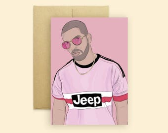 Pink Papi Drake Greeting Card  (Hip Hop Greeting Card, Pop Culture Card, Funny Greeting Card, For Any Occasion)