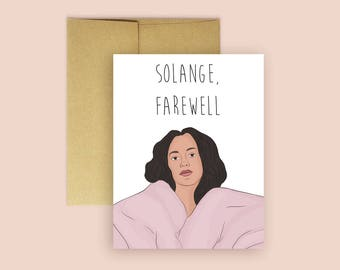 Solange, Farewell- Solange Knowles Farewell Card (Going Away Card, Farewell Card, Pop Culture Card, Miss You Cards, Moving Cards)