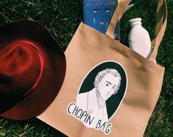 Tote Bag 'Chopin Bag'-- Shoppin' Bag- Punny Tote/ Book Bag