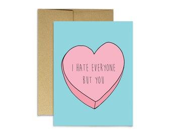 Anti Romantic Card I Hate You The Least Funny Anniversary Card First Anniversary Card Her Funny Hate You Least Card Funny Love Card