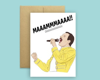 MAMA!- Bohemian Rhapsody Mother's Day Card- Funny Cards for Mom, Pop Culture Cards, Music Icon Cards, Greeting Cards