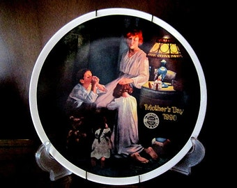 Norman Rockwell Evening Prayers Limited Edition Mother's Day Collectors Plate dated 1990 from the Knowles China Company