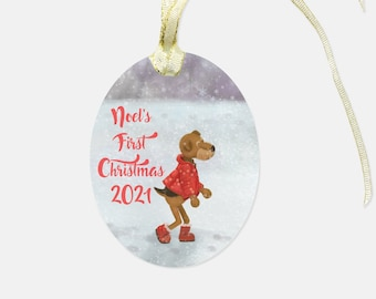 Personalized Glass Ornament - Farlee and Friends  - Airedale Terrier - Personalization Available