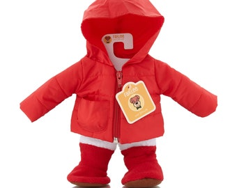 Farlee and Friends - Red Puffy Coat - Jacket and Boot Set - (dog and mouse not included) Fits our Farlee Plush