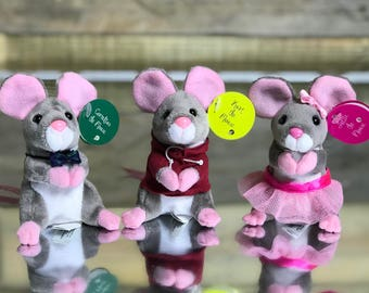 Storybook Mice - Stuffed Animal Set - Party Favors - Gift Set - Mouse Stuffed Animal - Minatures - Love - Courage - Kindness