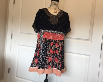 80aa15f5e6 SteamPunk Women's Tunic XL Large Plus Vintage Dress Shabby Chic Clothing  Top Boho Pullover Raw Hippie
