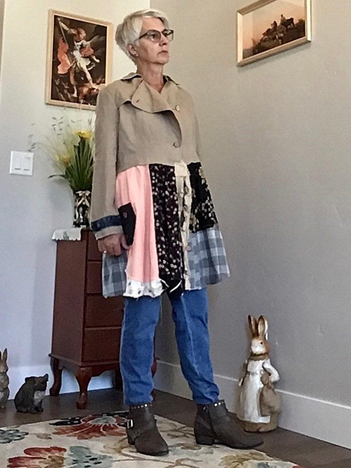 Linen Jacket, Cotton Women's Duster, Size Large, Boho Steampunk Clothing, Frayed Linen, Hippie, Artzwear