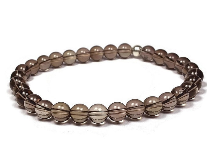 Smoky Quartz and Sterling Silver 6mm Beaded Bracelet, Transparent Smoky Quartz Beaded Bracelet