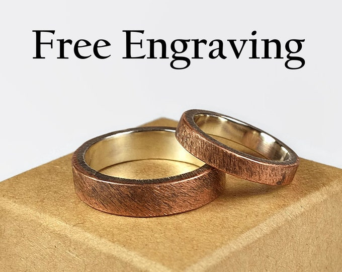 Antique Copper Wedding Band Ring Set. Antique Style  Flat Shape 4mm and 6mm Inside Ring Engraving Custom Engraving