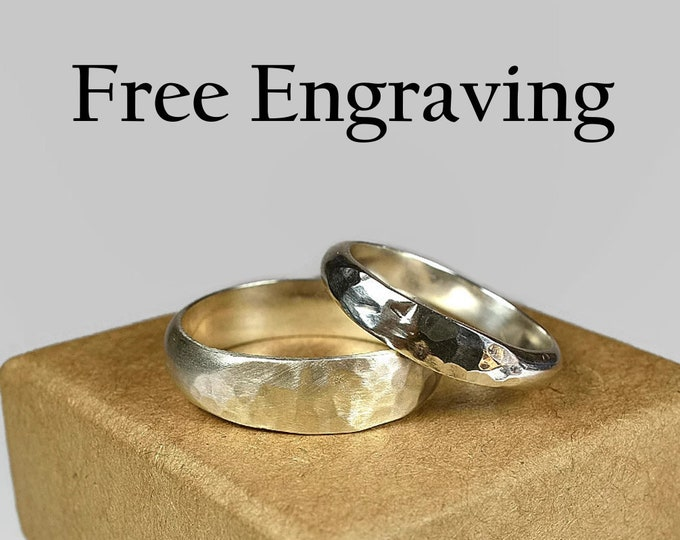 Sterling Silver Wedding Band Ring Set Couple Wedding Band Set Classic Hammered Inside Ring Engraving Custom Engraving Half Round4mm and 6mm