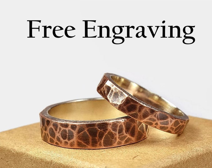 Hammered Antique Copper and Sterling Silver Wedding Band Set Couple Copper Wedding Band Set Copper Antique Wedding Band Set Custom Engraving