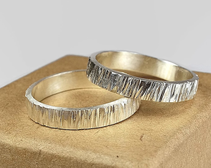 Tree Bark Wedding Bands Wood Grain Wedding Band Set for Couples Rustic Woodgrain Wedding Bands Rustic Tree Bark Wedding Band Textured
