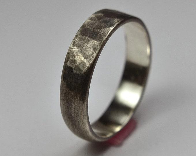 Mens Hammered Antique Wedding Ring, Mens Hammered Antique Wedding Band, Sterling Silver Hammered Antique Wedding Ring