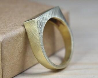 Mens Custom Matte Brass Signet Ring. Mens Signet Ring Men Matte Brass. Signet Ring for Men Matte Brass. Signet Rings Men Matte Brass