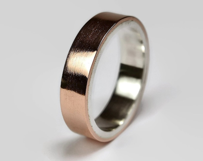 Mens Copper Wedding Band Ring. Unisex Copper Wedding Band. Modern Style. Flat Shape 6mm