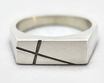Mens Custom Cross Signet Sterling Silver Ring for Men. Matte Finish. Style Minimalist. Solid Ring 8mm Wide
