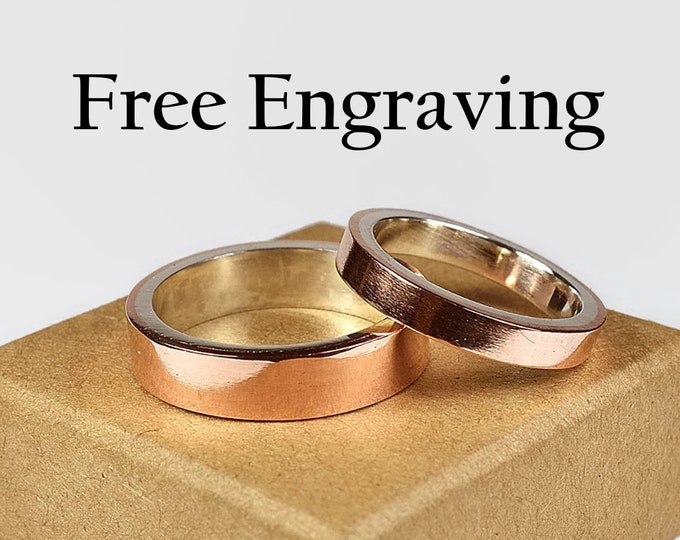 Copper Wedding Band Ring Set. Couple Copper Wedding Band Ring Set Custom Engraving Copper Ring Set with Free Engraving