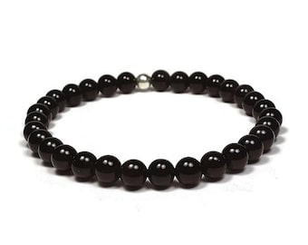 Black Onyx and Sterling Silver 6mm Beaded Bracelet, Black Onyx Beaded Bracelet