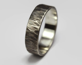 Mens Dark Antique Rustic Ring. FRustic Antique Style. Dark Oxidized finished. Tree Bark Texture, Flat Shape 6mm