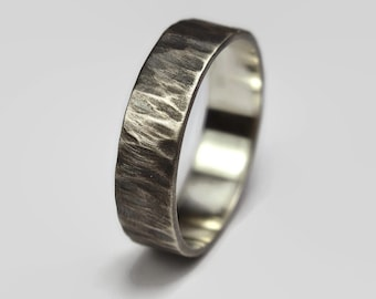 Mens Dark Antique Rustic Ring. Rustic Antique Style. Dark Oxidized finished. Tree Bark Texture, Flat Shape 6mm