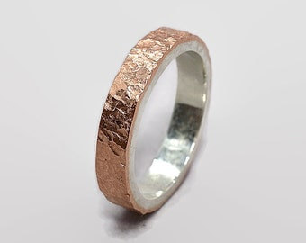 Meteorite Copper and Silver Wedding Band Ring Meteorite Rustic Copper Wedding Band Ring Lunar Rustic Copper Wedding Band Ring