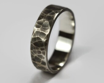 Mens Dark Silver Wedding Band Ring. Dark Oxidized Finish. Antique Style. Flat Hammered Shape 6mm