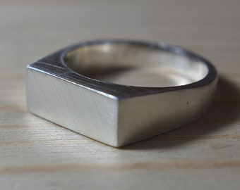 Mens Custom Sterling Silver Signet Ring. Mens Signet Ring Men Silver. Signet Ring for Men Sterling Silver. Signet Rings
