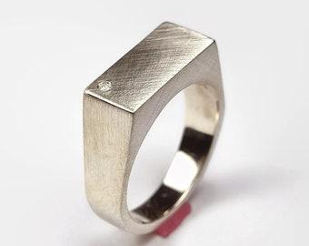 Mens Custom Ring Mens Cubic Zirconia Signet Ring Silver Signet Ring Custom Silver Cubic Zirconia Ring Engraved Ring Rectangle Ring Unique
