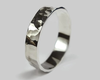 Mens Sterling Silver Wedding Band Ring. Polished Finish. Rustic Style. Flat Hammered Shape 6mm