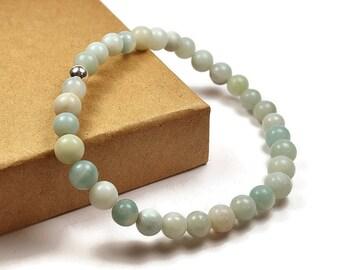Mens Beaded Amazonite Bracelet. 6mm Amazonite Beads. Green Bracelet
