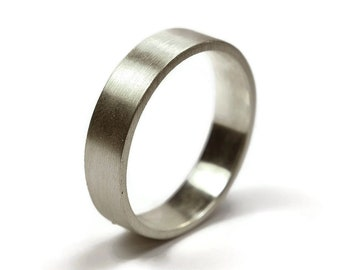 Mens Sterling Silver Wedding Band Ring. Matte Finish. Urban Style. Flat Shape 6mm