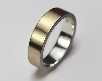 Mens 9k Gold and Sterlling Silver Wedding Band Ring. Matte Finish. Modern Style. Flat Shape 6mm
