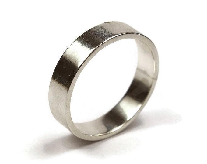 Mens Silver Wedding Band Ring. Modern Urban Style. Flat Shape 6mm