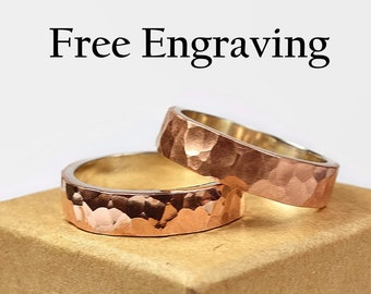 Hammered Copper Wedding Band Set Couples Ring Set Copper Rustic Style Flat Shape 6mm Free Inside Ring Engraving Custom Engraving