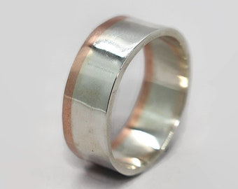 Mens Silver and Copper Wedding Band Ring Attractive Silver and Copper Wedding Band Ring Unique Silver and Copper Wedding Ring Gift for Him