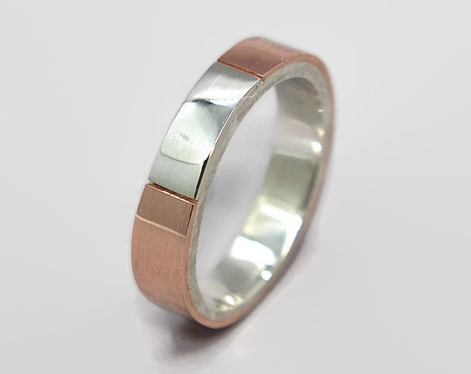 Mens Wedding Band Ring Copper and Silver. Unique Mens Ring Copper and Silver. Modern Copper Wedding Band Ring Gift for Him 4mm
