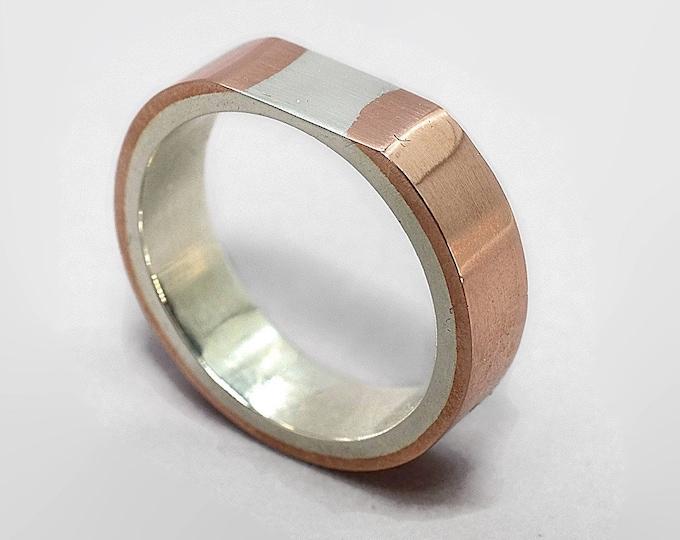 Mens Copper Wedding Band Ring, Modern Copper and Silver Wedding Band Ring, Polished Copper Silver Ring for Men, Original Gift for Him