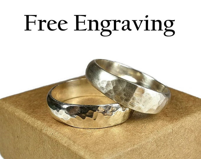 Promise Rings Set His and Her Promise Sterling Silver Ring Wedding Band Ring for Couple Hammered Silver Wedding Band Ring 6mm