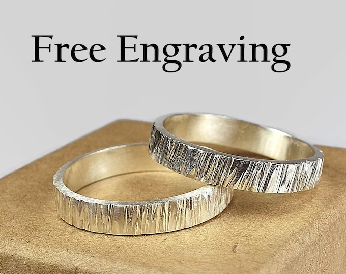 Tree Bark Wedding Bands Wood Grain Wedding Band Set for Couples Rustic Woodgrain Wedding Bands Rustic Wood Wedding Band Custom engraving