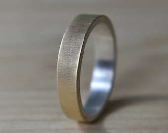 Mens 9k Gold and Sterlling Silver Wedding Band Ring. Finish Matte. Modern Style. Flat Shape 6mm