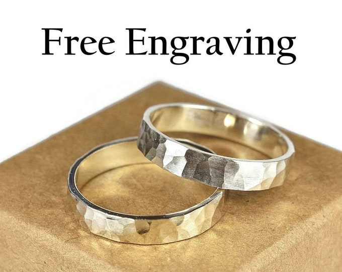 Sterling Silver Wedding Band Ring Set. Couples Hammered Wedding Band, Rustic Style. Hammered 4mm. Free Inside Engraving Custom Engraving
