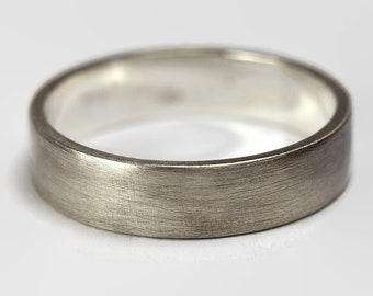 Mens Dark Grey Flat Wedding Band Ring. Unisex Dark Grey Oxidized Wedding Band Ring