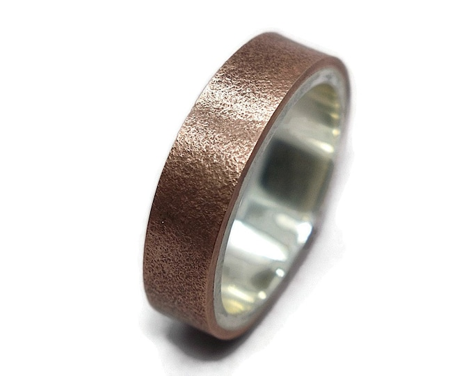 Mens Matte Rugged Copper and Silver Wedding Band Ring, Rustic Antique Copper and Silver Wedding Band Ring for Him Gift for Him
