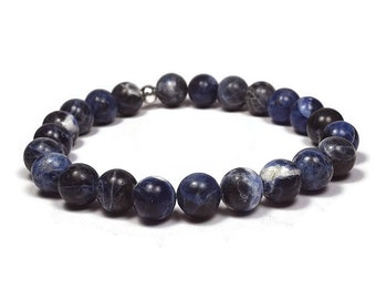 Sodalite and Sterling Silver 8mm Beaded Bracelet, Blue Sodalite Beaded Bracelet