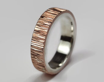 Mens Nature Copper and Sterling Silver Tree Bark Wedding Band, Wood Grain Textured, Flat Shape 6mm, Hammered Ring