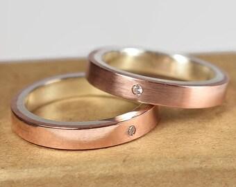 Copper Cubic Zirconia CZ Wedding Band Set. Couples Ring Set, Minimalist Style. Modern Wedding Band Set, Flat Shape 4mm