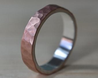 Mens Flat Hammered Copper Wedding Band. Hammered Copper Matte Wedding Ring for Men. Mens Wedding Rings. Hammered Matte Wedding Band